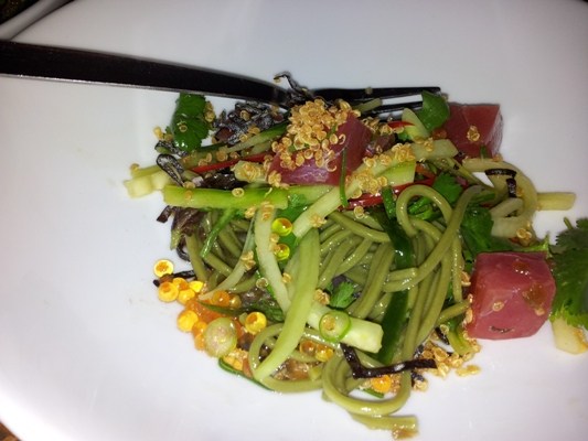 Yellowfin tuna, green tea soba noodles and jalapeno dressing.