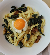 Caramelised Onion and Cavolo Nero Fettucine with Walnuts, Ricotta and Yolk