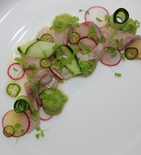 Kingfish Crudo with Miso Wasabi Avocado Mousse, Pickled Chilli and Orange Vinaigrette