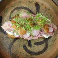 Pork Belly Toast with Pickled Eschalots, White Anchovies and Pork Crackling