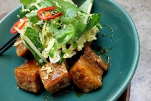 Chilli Caramel Pork Belly with Apple and Herb Salad